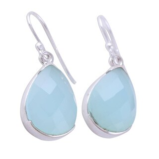 Handmade Sterling Silver 'Aqua Drops' Chalcedony Earrings (India)