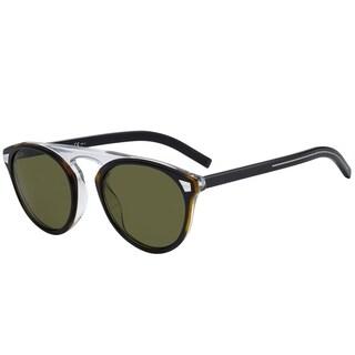 Dior Round Tailoring 2S WR7 QT Unisex Black Havana Frame Green Lens Sunglasses