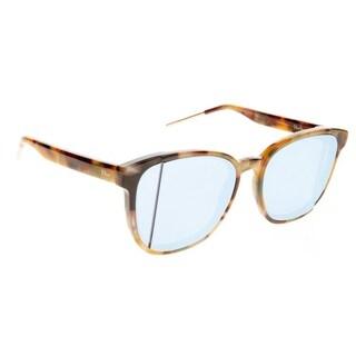 Dior Square DiorStep ORI R9 Unisex Havana Yellow Frame Blue Mirror Lens Sunglasses