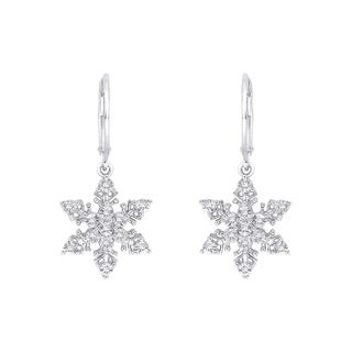 10k White Gold 1/10ct TDW Diamond Snowflake Dangle Earrings (J-K, I1-I2)