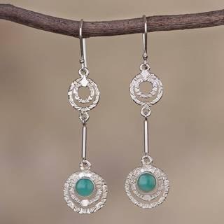 Handmade Sterling Silver 'Sweet Flight' Opal Earrings (Peru)