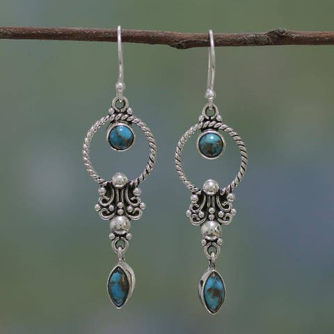 Handmade Sterling Silver 'Forms of Love' Turquoise Earrings (India)