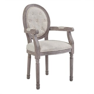 Arise Vintage French Upholstered Fabric Dining Armchair - N/A