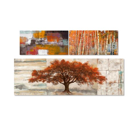 Oliver Gal 'Amber Autumn - Set of 3' Canvas
