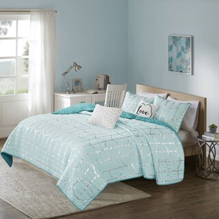 Intelligent Design Khloe Aqua/ Silver Metallic Printed 5-piece Coverlet Set