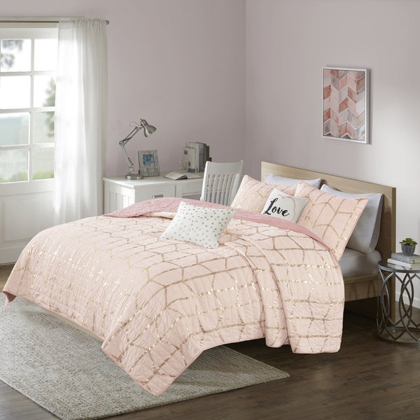 Intelligent Design Khloe Blush/ Gold Metallic Printed 5-piece Coverlet Set