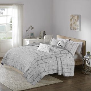 Intelligent Design Khloe Grey/ Silver Metallic Printed 5-piece Coverlet Set