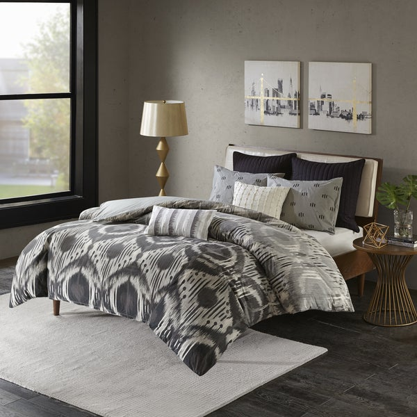 INK+IVY Orissa Grey Cotton 3-piece Comforter Set