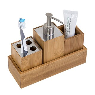 Honey-Can-Do Bamboo 4-Piece Dispenser Set