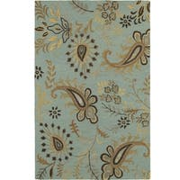 LR Home Glamour Spa Blue Wool Rectangle Area Rug - 8' x 10'