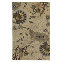 LR Home Glamour Sand/Beige/Gray Wool Rectangle Indoor Area Rug - 5' x 7'9
