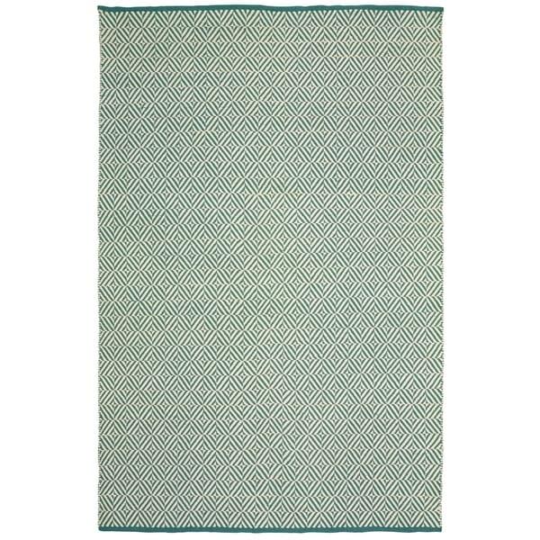 LR Home Teal Herringbone Indoor/Outdoor Area Rug(8'x10') - 5' x 7'9