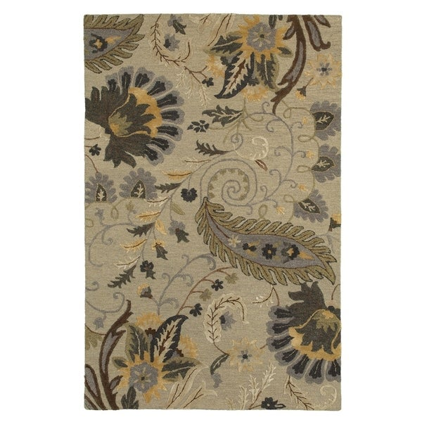 LR Home Glamour Beige Wool Transitional Area Rug - 9' x 12'