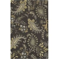 LR Home Glamour Smoke Grey Wool Area Rug - 8' x 10'