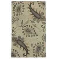 LR Home Glamour Light Grey Wool Area Rug - 9' x 12'