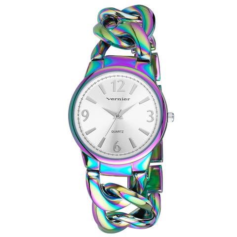 Women's Fashion V11081BKW Rainbow Oversized Watch - Black