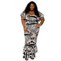 Xehar Womens Plus Size Off Shoulder Long Evening Dress (2 Piece Set)