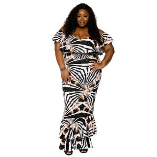 Xehar Womens Plus Size Off Shoulder Long Evening Dress (2 Piece Set)