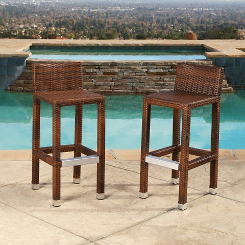 Abbyson Palermo Outdoor Wicker 29-inch Bar Stool Set of 2
