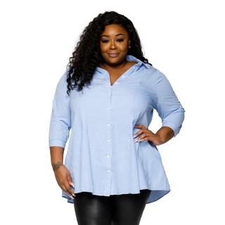 Xehar Womens Plus Size Casual Sexy Pinstripe Button Up Shirt Dress