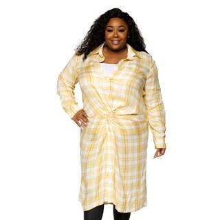 Xehar Womens Plus Size Casual Stylish Long Plaid Flannel Shirt Dress