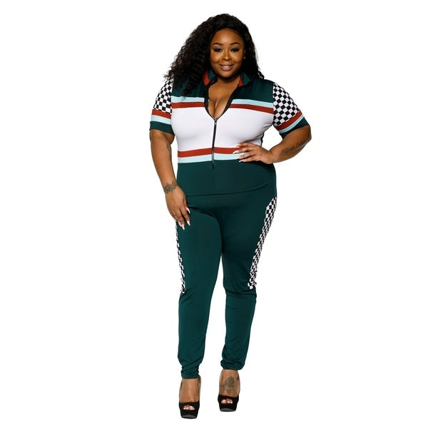 Shop Xehar Womens Plus Size Racer Checker Panel Jumpsuit Playsuit