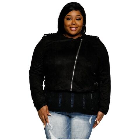 Xehar Womens Plus Size Stylish Faux Suede Cropped Moto Jacket