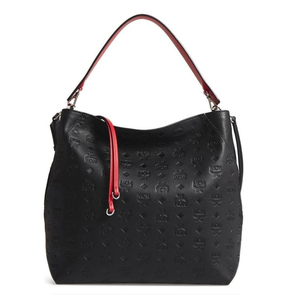 8b170b820972 Shop MCM Klara Monogrammed Leather Black Hobo Bag - Free Shipping ...