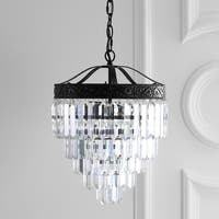 "Wyatt 12"" 2-Light Crystal LED Chandelier, Bronze/ Clear - Bronze"