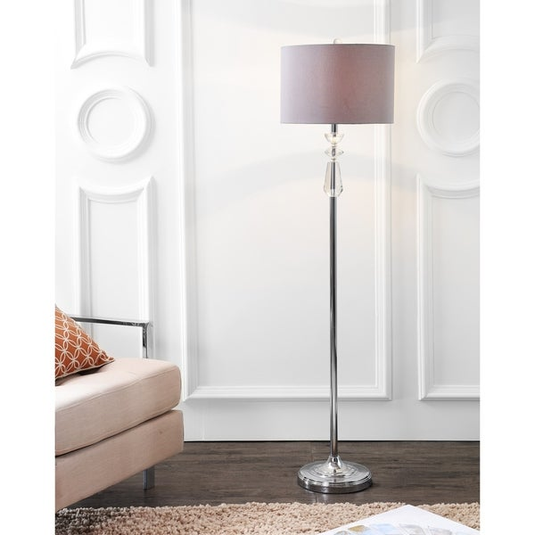 "Layla 59.5"" Crystal / Metal LED Floor Lamp, Clear/Chrome With Gray Shade"
