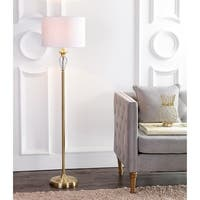 "Evelyn 60"" Crystal / Metal LED Floor Lamp, Brass Gold/Clear"