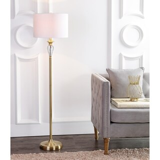 """Evelyn 60"""" Crystal / Metal LED Floor Lamp, Brass Gold/Clear"""