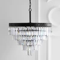 "Wyatt 20"" 4-Light Crystal LED Chandelier, Bronze/ Clear"