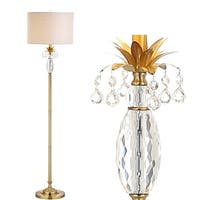 "Adalyn 61"" Crystal / Metal LED Floor Lamp, Clear/Brass Gold"