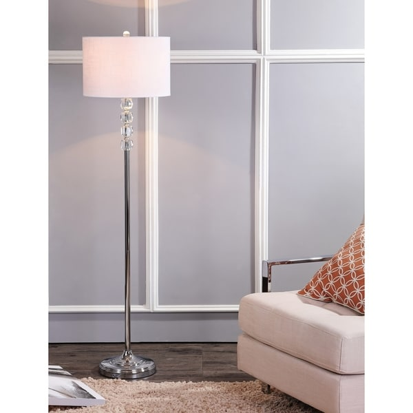 "Aubrey 59.5"" Crystal / Metal LED Floor Lamp, Clear/Chrome"