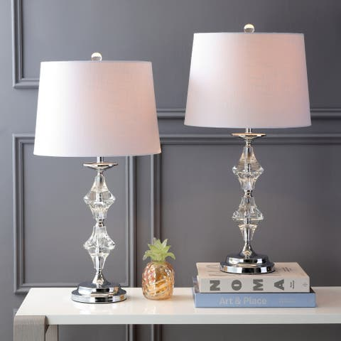 """Madison 27.5"""" Crystal LED Table Lamp, Clear/Chrome (Set of 2) by JONATHAN Y"""