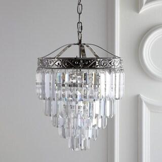 """Wyatt 12"""" 2-Light Crystal LED Chandelier, Polished Nickel/Clear by JONATHAN Y - Silver"""
