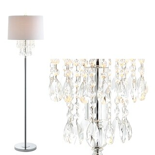"Abigail 61"" Crystal / Metal LED Floor Lamp, Clear/Chrome"