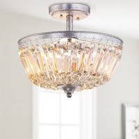 "Caleb 14.2"" 3-Light Crystal / Metal LED Semi-Flush Mount, Antique Silver / Amber"