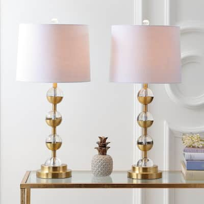 """Avery 27.5"""" Crystal LED Table Lamp, Clear/Brass Gold (Set of 2) by JONATHAN Y"""
