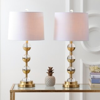 "Avery 27.5"" Crystal LED Table Lamp, Clear/Brass Gold (Set of 2)"