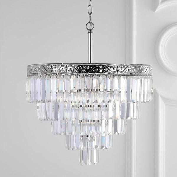 """Wyatt 20"""" 4-Light Crystal LED Chandelier, Polished Nickel/ Clear by JONATHAN Y - Silver"""