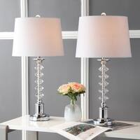 "Kinsley 28"" Crystal LED Table Lamp, Clear/Chrome (Set of 2) by JONATHAN  Y"