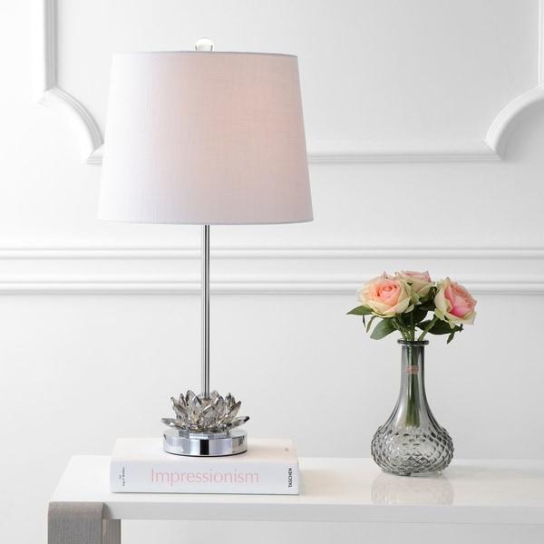 """Amelia Lotus 25"""" Crystal Table Lamp, Smoking Grey/Chrome by JONATHAN Y"""