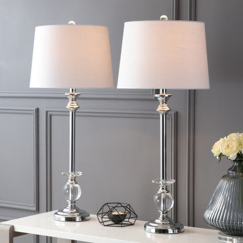 """Elizabeth 33"""" Crystal/Metal LED Table Lamp, Clear/Chrome (Set of 2) by JONATHAN Y"""