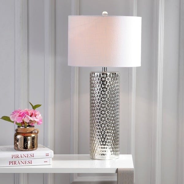"""Isabella 30"""" Glass LED Table Lamp, Silver"""