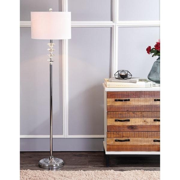 """Mia 60.5"""" Crystal/Metal LED Floor Lamp, Clear/Chrome"""