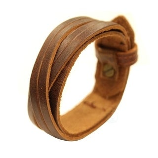 Genuine Leather Brown Cuff Bracelet