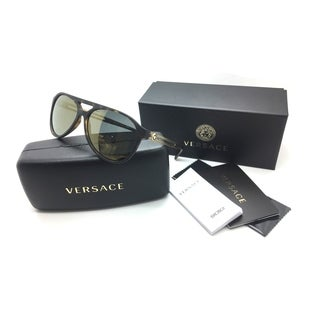 Versace Men Brown Aviator Mirror Sunglasses MOD 4312 3N 5181 4T 60 Plastic