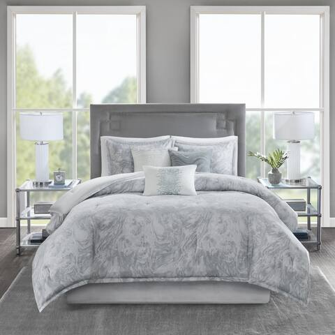 Madison Park Nowell Grey Cotton Sateen 7-piece Comforter Set 2-Color Option